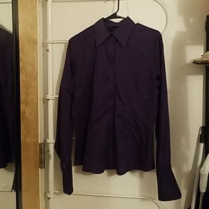 Purple Long Sleeve Button Down Top